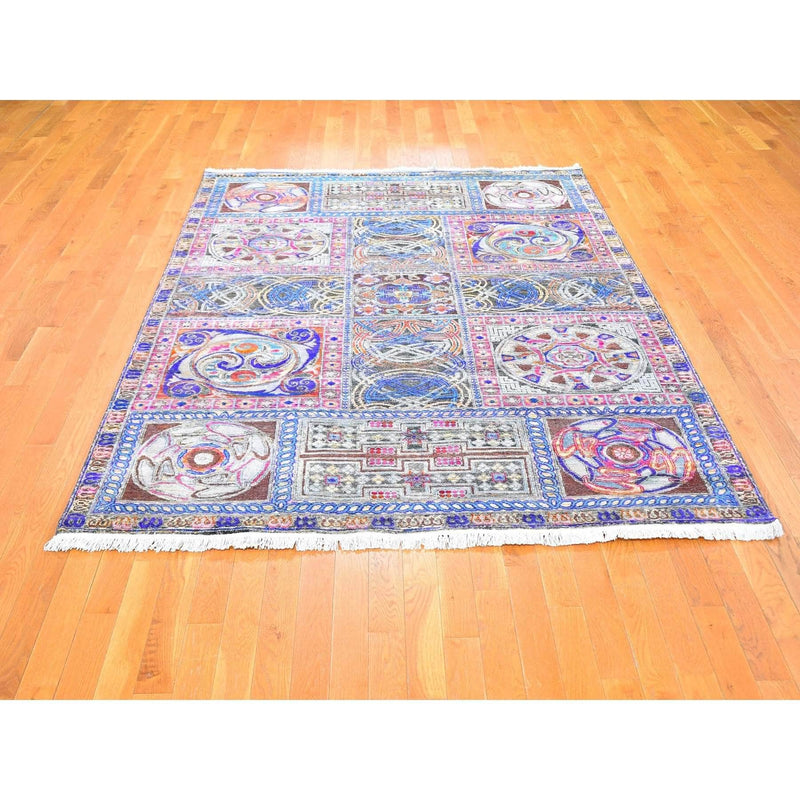"Shrugs Arts And Crafts 6'1""x9' Sari Silk with Textured Wool Arts and Crafts Block Design Hand Knotted Oriental Rug"