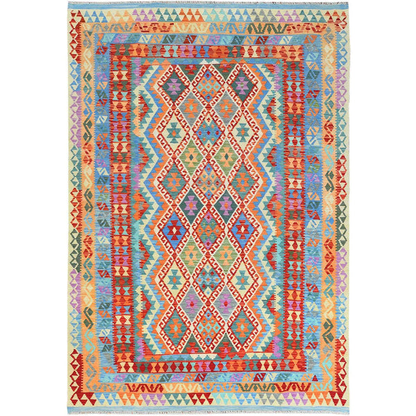 "Shrugs Flat Weave 6'7""x9'6"" Colorful Afghan Kilim With Tribal Design Reversible Glimmery Wool Hand Woven Ethnic Oriental Rug"