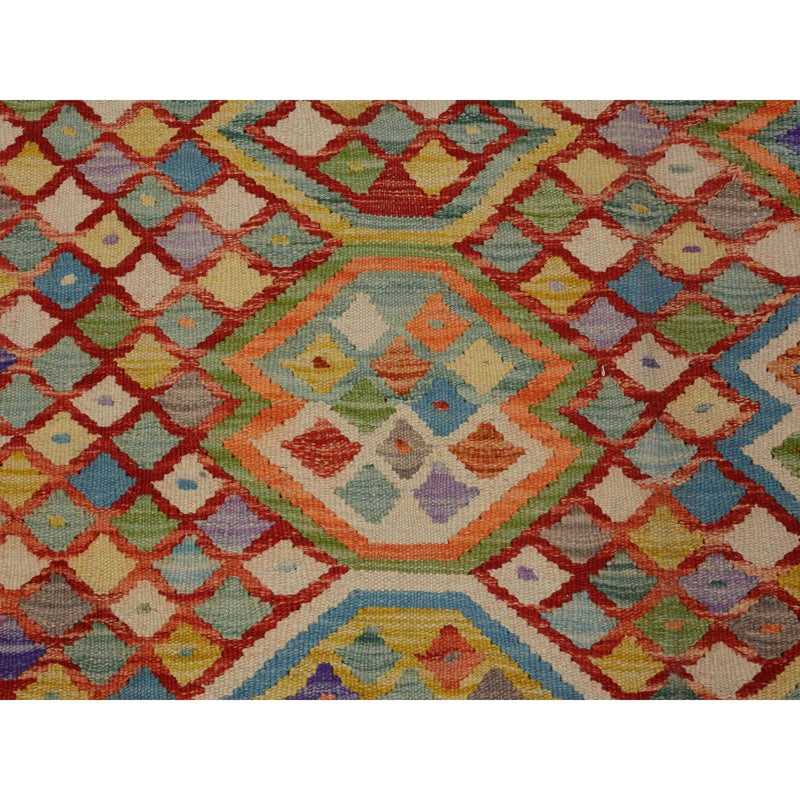 "Shrugs Flat Weave 6'7""x9'7"" Colorful Reversible Flat weave Afghan Kilim Pure Wool Hand Woven Oriental Rug"