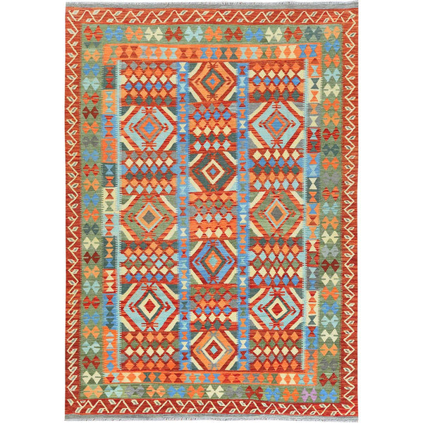 "Shrugs Flat Weave 6'7""x9'8"" Green Afghan Kilim In A Colorful Palette Geometric Design Reversible Pure Wool Hand Woven Oriental Rug"