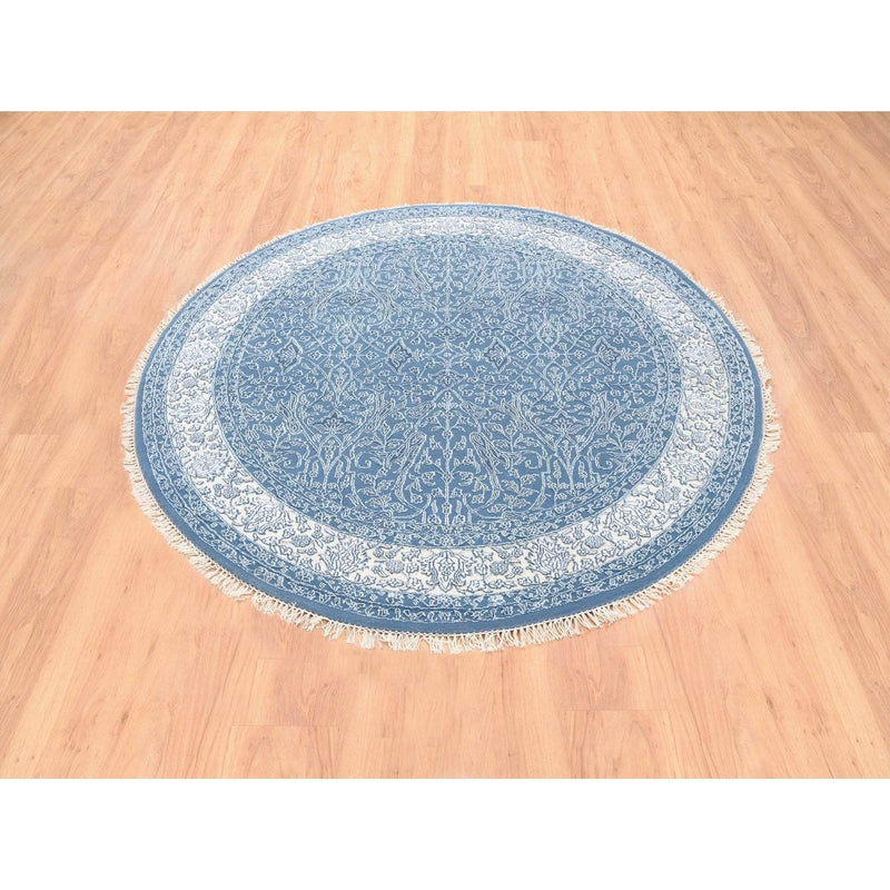 Shrugs Fine Oriental 6'x6' Denim Blue Tone on Tone Wool and Plant Base Silk Transitional Persian Design 250 KPSI Hand Knotted Round Oriental Rug