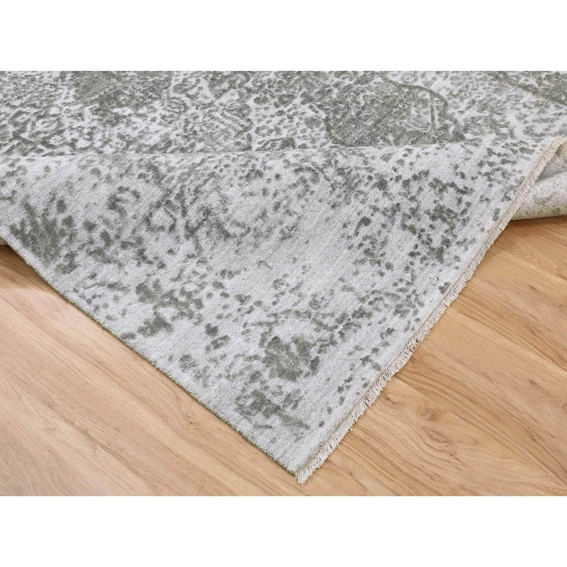 Shrugs Transitional 6'x9' Grey Broken Persian Design Wool And Pure Silk Hand Knotted Oriental Rug