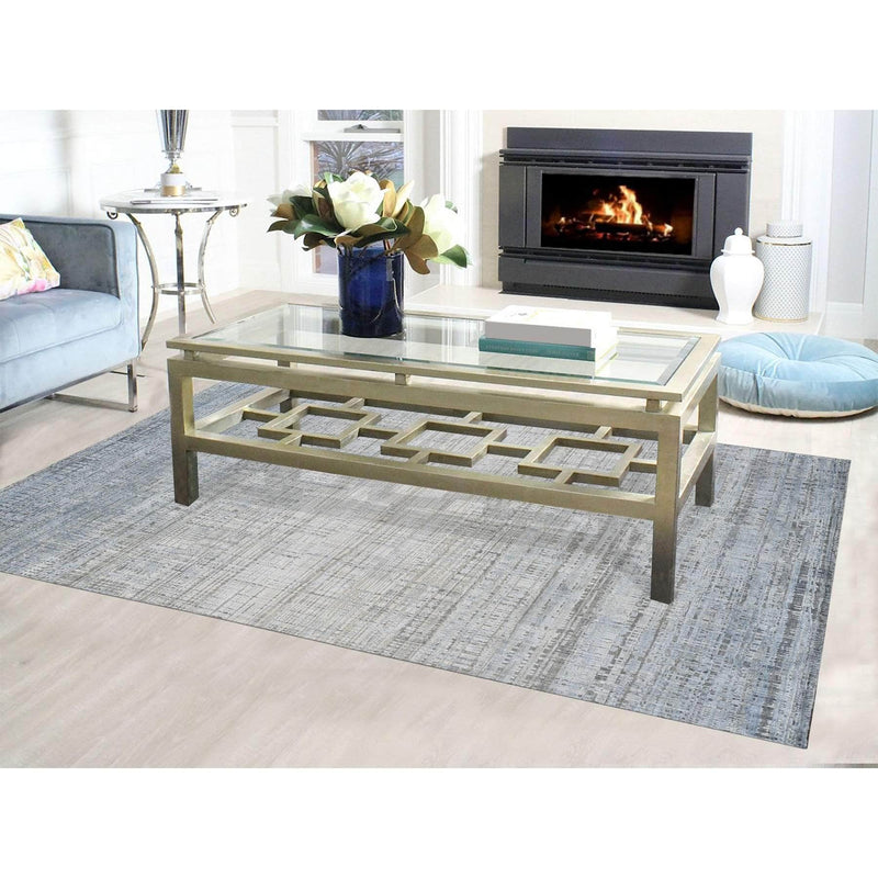 Shrugs Modern and Contemporary 6'x9' Silk With Textured Wool Ombre Design Hand Knotted Oriental Rug