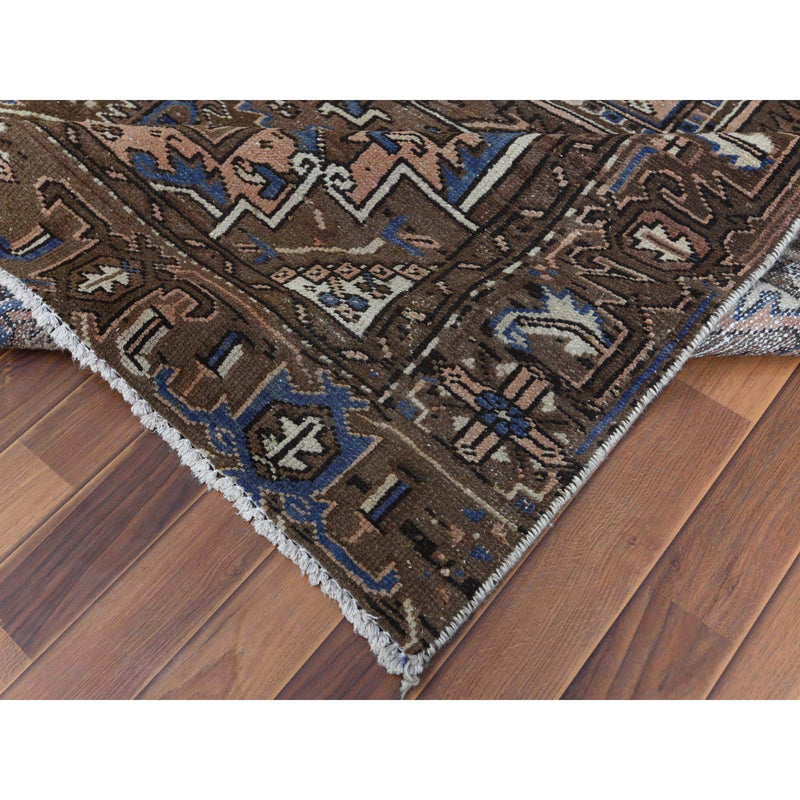 "Shrugs Persian 7'2""x10'4"" Chocolate Brown Semi Antique Persian Heriz Vintage And Worn Clean Natural Wool Hand Knotted Oriental Rug"