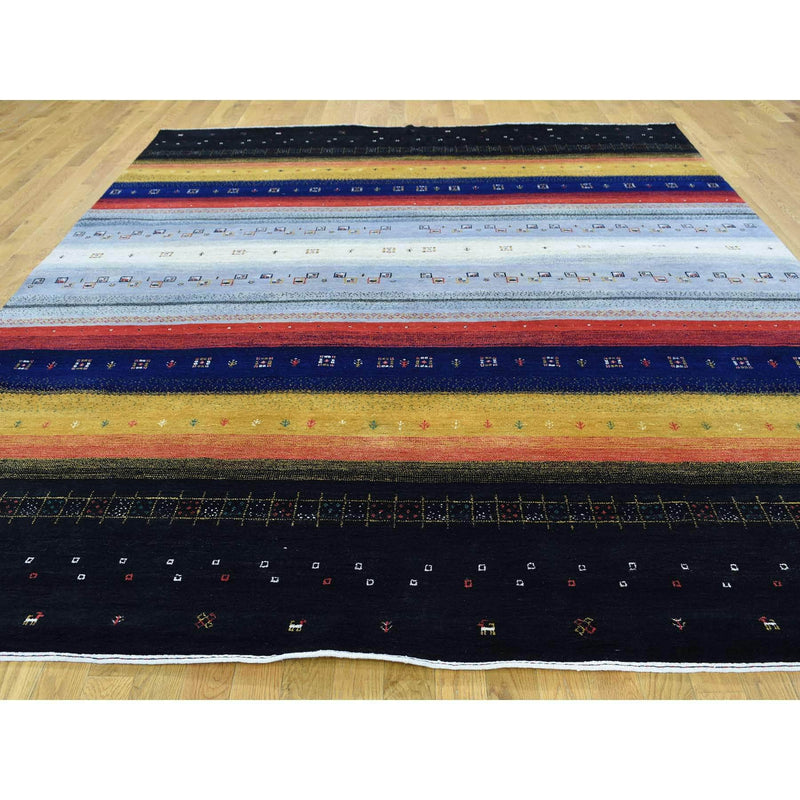 "Shrugs Modern and Contemporary 8'1""x9'9"" 100 Percent Wool Hand-Knotted Folk Art Gabbeh Oriental Rug"