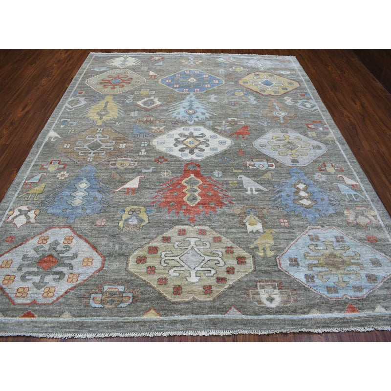 "Shrugs Tribal & Geometric 8'4""x10'1"" Glimmery Wool Gray With Large Elements Design Hand Knotted Oriental Rug"