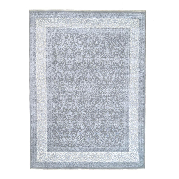 "Shrugs Fine Oriental 8'8""x12' Gray Tone on Tone Wool and Plant Base Silk Transitional Persian Design 250 KPSI Hand Knotted Fine Oriental Rug"