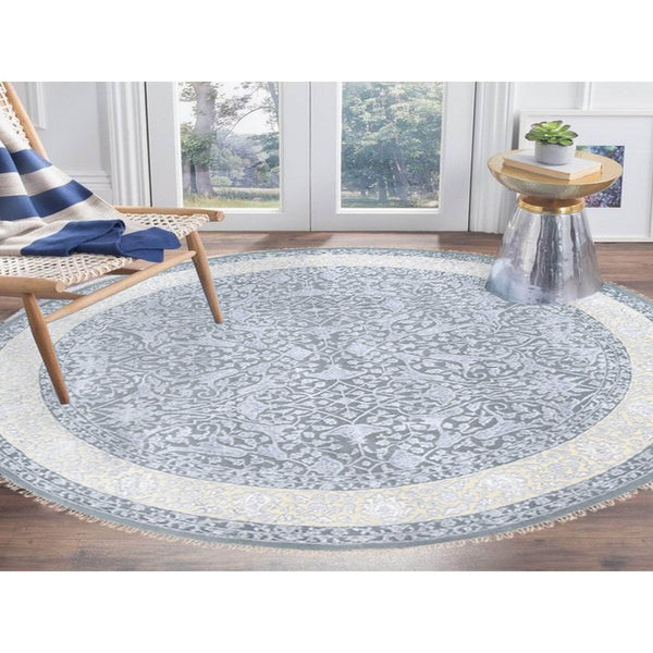 "Shrugs Fine Oriental 8'9""x8'9"" Gray Wool and Plant Base Silk Transitional Persian Design 250 KPSI Tone on Tone Hand Knotted Round Fine Oriental Rug"
