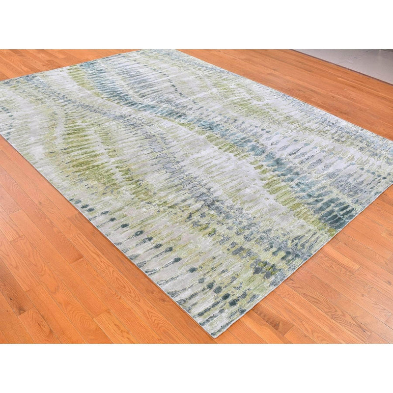 "Shrugs Transitional 8'x10'2"" Green Safari Tree Crocodile Design Pure Silk with Textured Wool Hand Knotted Oriental Rug"