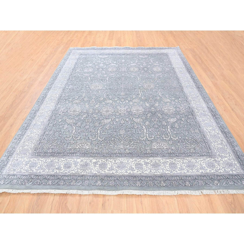 Shrugs Fine Oriental 8'x10' Gray Tone on Tone Wool and Plant Base Silk Transitional Persian Design 250 KPSI Hand Knotted Fine Oriental Rug