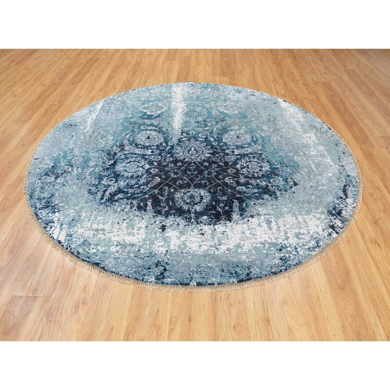 Shrugs Transitional 8'x8' Round Wool And Silk Broken Persian Tabriz Erased Design Hand Knotted Oriental Rug