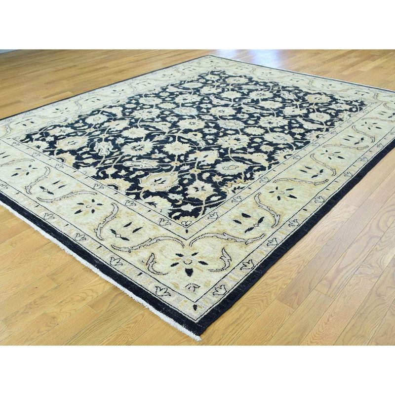 "Shrugs Oushak And Peshawar 8'x9'10"" Pure Wool Peshawar Design Hand-Knotted Oriental Rug"