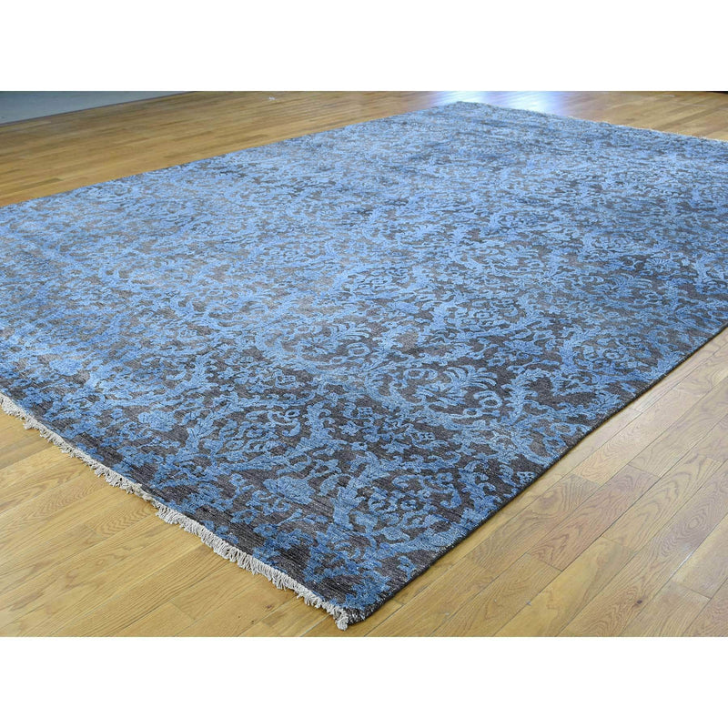"Shrugs Modern and Contemporary 8'x9'9"" Hand-Knotted Wool and Silk Damask Design Hi and Lo Pile Rug"