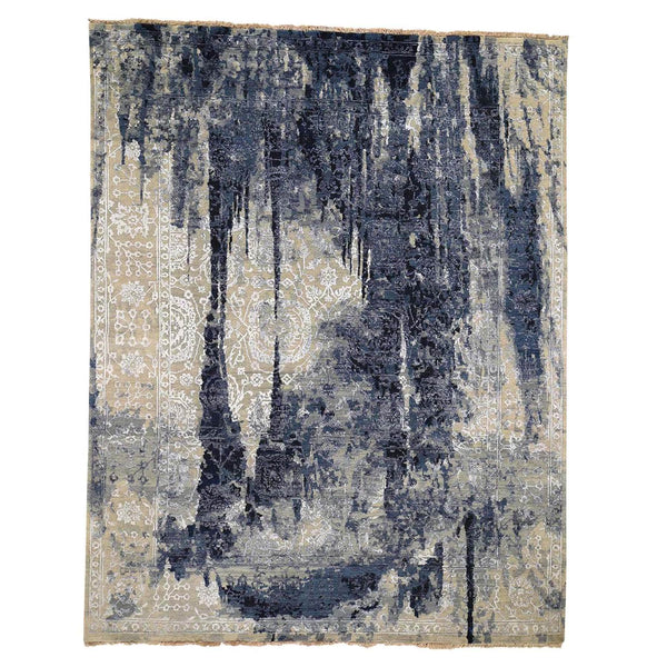 "Shrugs Transitional 8'x9'9"" Wool And Silk Shibori Design Tone On Tone Hand-Knotted Oriental Rug"