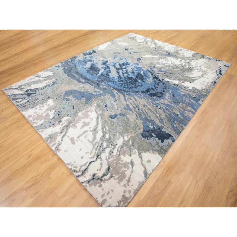 "Shrugs Modern and Contemporary 9'1""x11'10"" Abstract Design Wool and Silk Hi-low Pile Hand Knotted Oriental Rug"