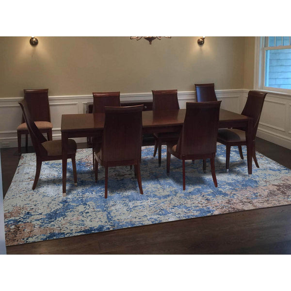 "Shrugs Modern and Contemporary 9'10""x13'10"" Hand-Knotted Abstract Design Wool And Silk Hi And Low Pile Oriental Rug"