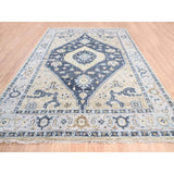 "Shrugs Tribal & Geometric 9'2""x12'1"" Navy Blue Supple Collection Bakshaish Design Soft Wool Oriental Hand Knotted Rug"
