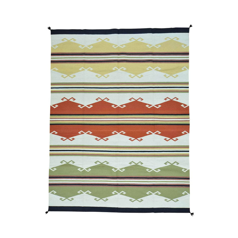 "Shrugs Flat Weave 9'2""x12' Pure Wool Flat Weave Navajo Design Hand Woven Oriental Rug"