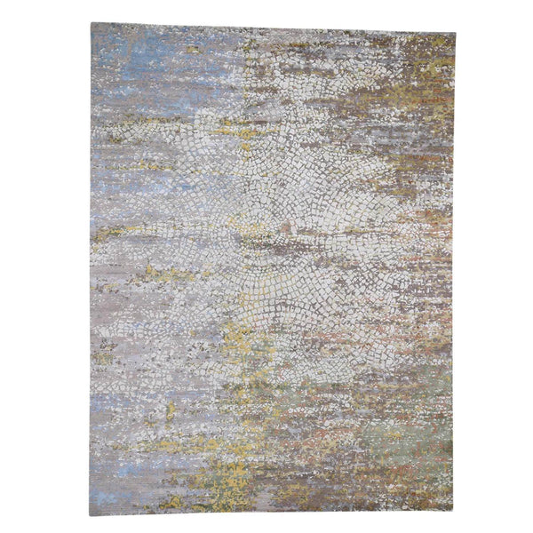 "Shrugs Modern and Contemporary 9'x12'1"" Colorful Wool And Pure Silk Broken Roman Mosaic Design Hand-Knotted Oriental Rug"