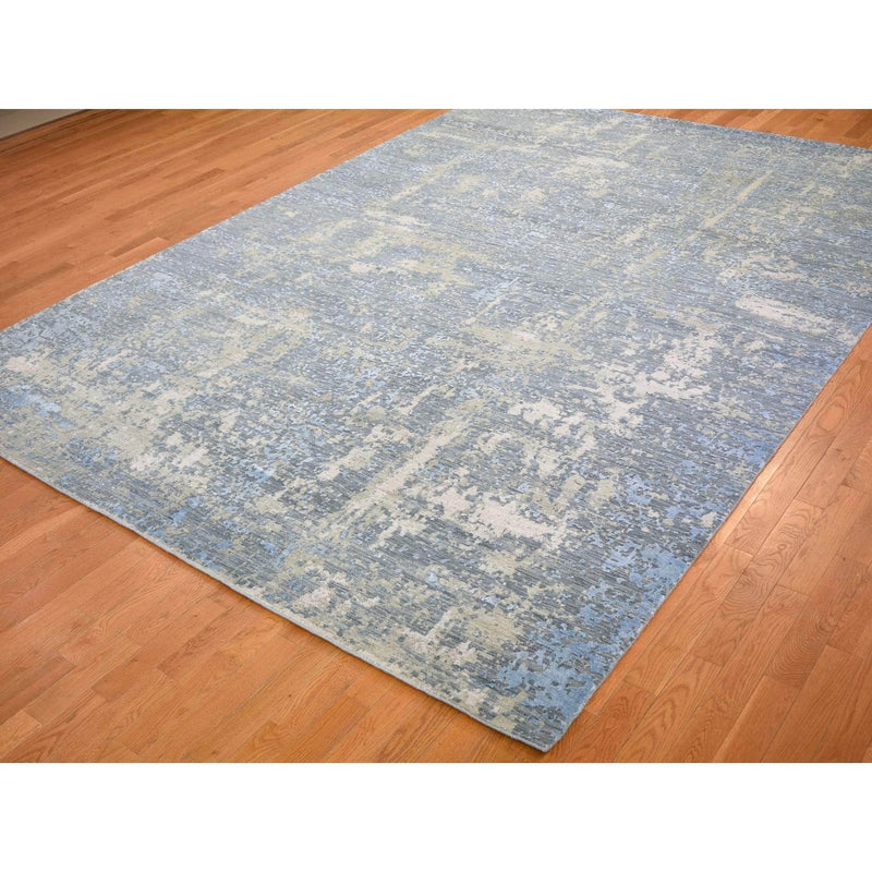 "Shrugs Modern and Contemporary 9'x12'4"" Gray Abstract Design Wool And Silk Hi-Low Pile Denser Weave Hand Knotted Oriental Rug"