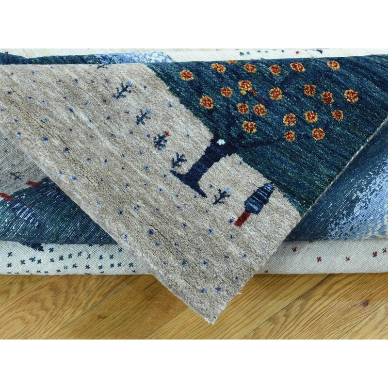 Shrugs Modern and Contemporary 9'x12' Hand-Knotted Modern Folk Art Gabbeh Persian Wool Oriental Rug