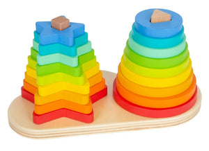 Wooden Rainbow Stacking Game
