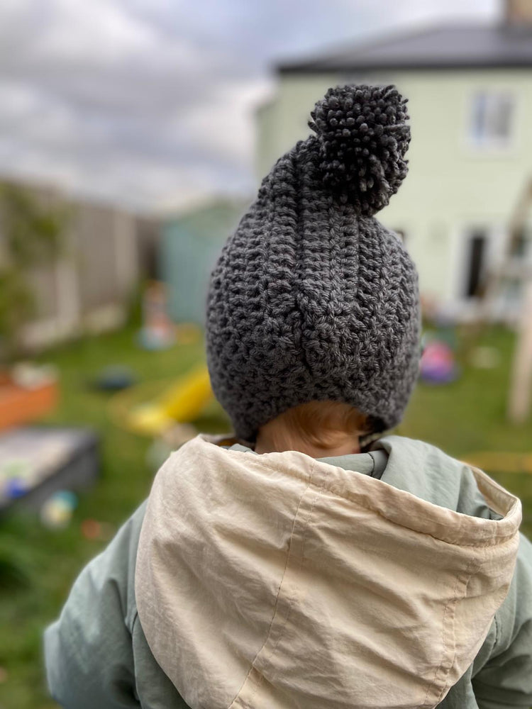 Load image into Gallery viewer, Charcoal Pom Pom Pixie Bonnet
