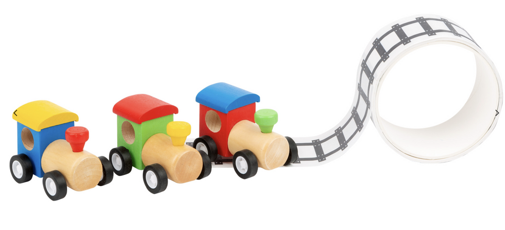 Wooden Train with adhesive Railway Tape