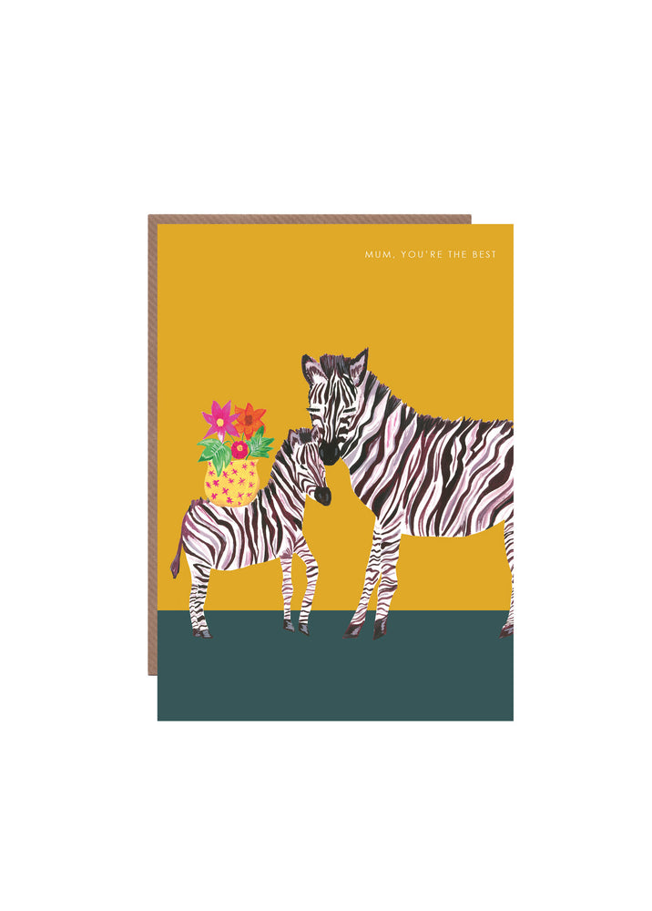 Zebra Best Mum Greetings Card