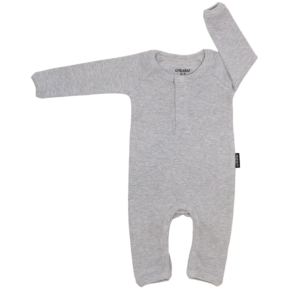 Ribbed Baby Romper - Grey Marl