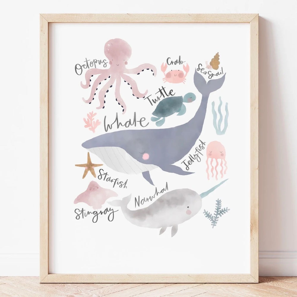 Load image into Gallery viewer, Pastel Sea Animals A4 Print