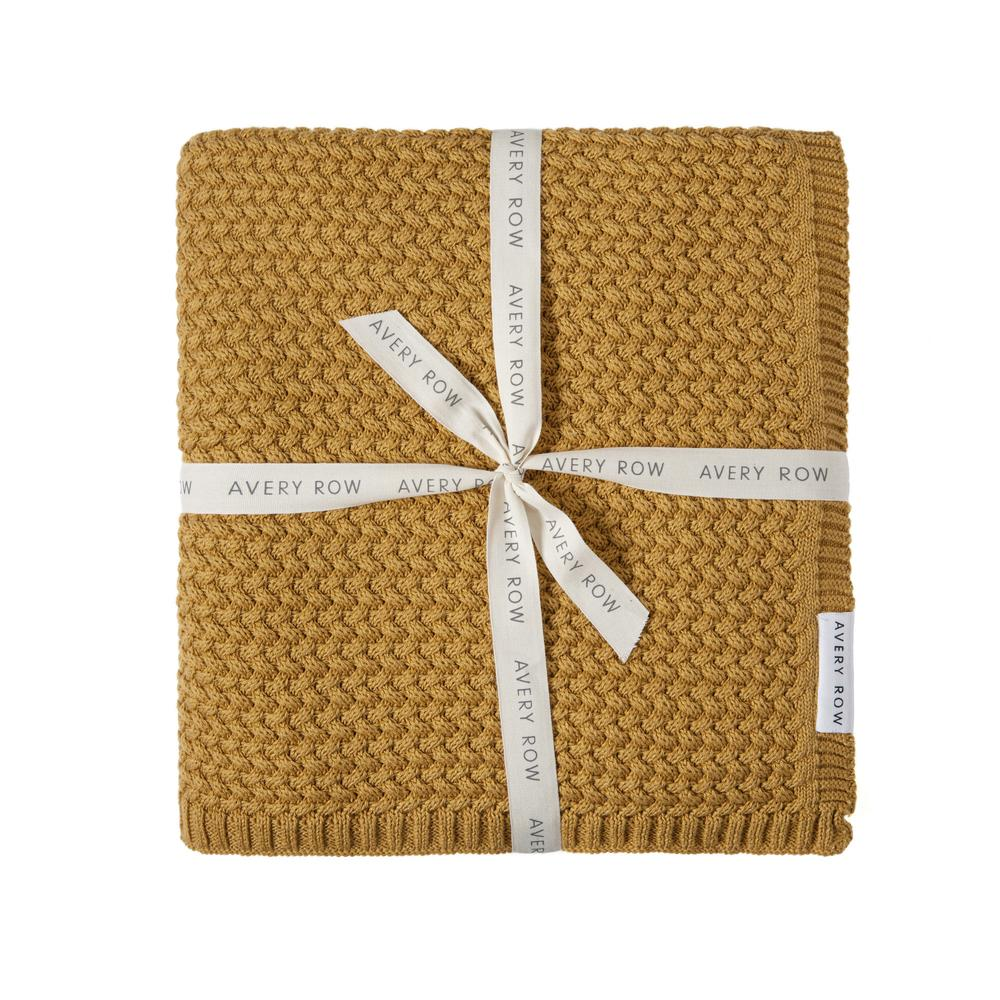 Knitted Blanket-Mustard