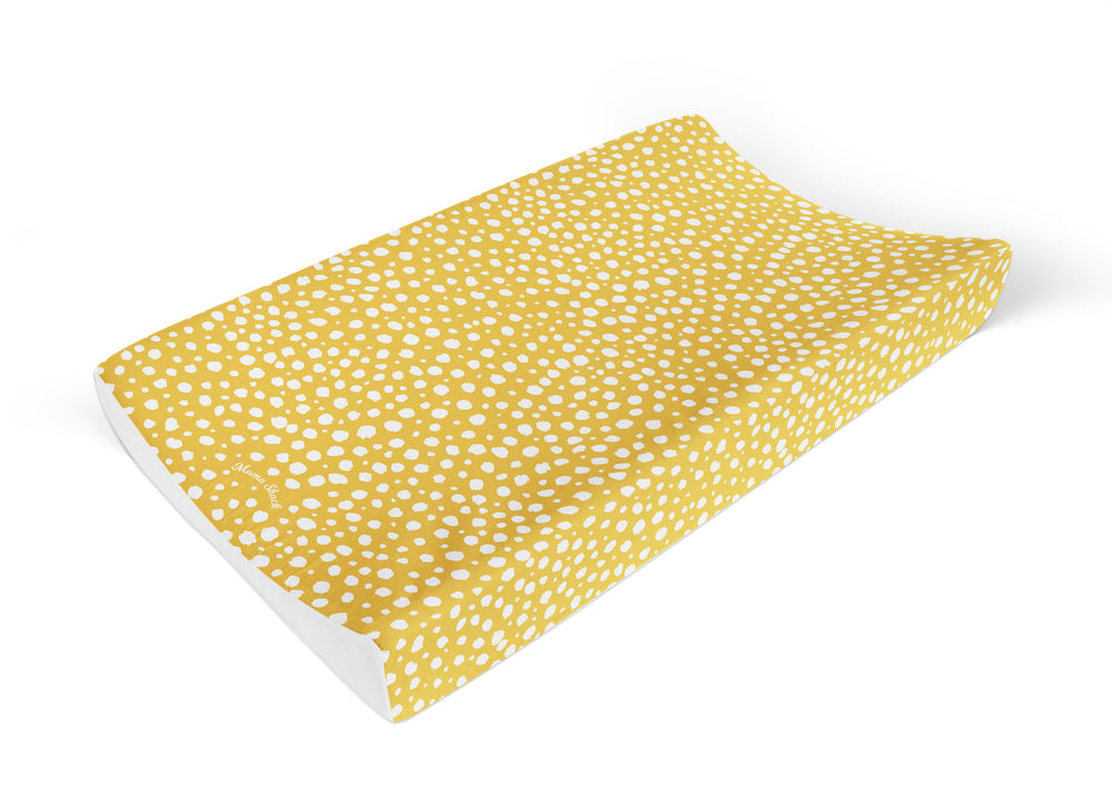 Anti Roll Changing Mat Mustard Spotty