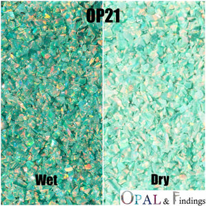 Crushed Opal - OP21 Green Olive - Opal And Findings
