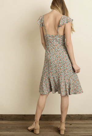 flutter fly midi dress