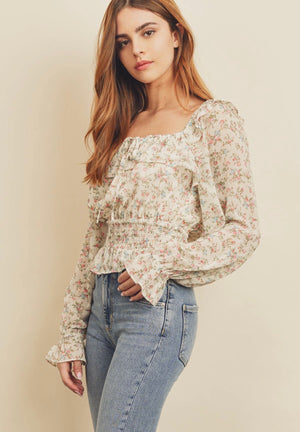 living on a prairie floral blouse