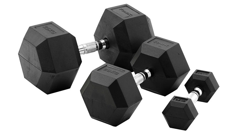 York 20kg Rubber Hex Dumbbell-Pair