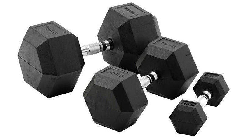 York 70kg Rubber Hex Dumbbell Set