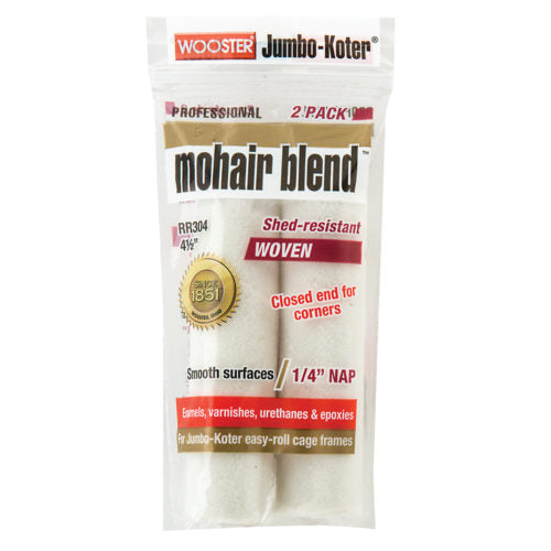 "Wooster Mohair Blend 4-1/2"" W Paint Roller Cover 2 pk 1/4"" Nap"