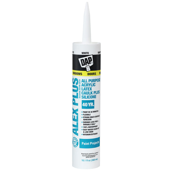 DAP® Alex Plus® All Purpose Acrylic Latex Caulk Plus Silicone White 10.1 FL OZ