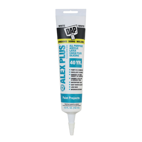 DAP® Alex Plus® All Purpose Acrylic Latex Caulk Plus Silicone White 5.5 FL OZ
