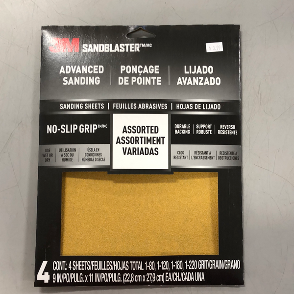 "3M Sandblaster™ 9""x11"" Sandpaper Assorted Grit Sheets - 4-Pack (80, 120, 180, 220 grit)"