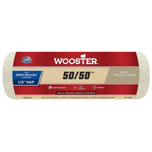 "Wooster 9"" 50/50™ Roller Cover 1/2"" Nap"