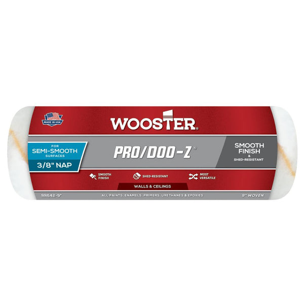 "Wooster 9"" Pro/Doo-Z FTP Woven Fabric Roller Cover 3/8"" Nap"
