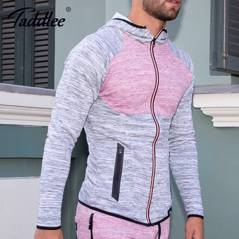 Taddlee Brand Long Sleeve Hoodies Men's Stretch Casual Basic Active Apparel Tee Shirts Soft with Zipper Slim Fit