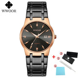 2020 WWOOR Diamond Watches Mens Top Brand Luxury Gold Black Date Quartz Watch For Men Fashion Dress Wrist Watches relojes hombre