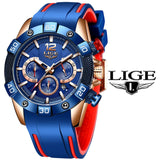 LIGE 2020 New Fashion Blue Mens Watches Top Brand Luxury Clock Sports Chronograph Waterproof Quartz Watch Men Relogio Masculino