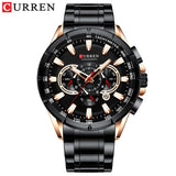 CURREN New Causal Sport Chronograph Men's Watch Stainless Steel Band Wristwatch Big Dial Quartz Watches with Luminous Pointers