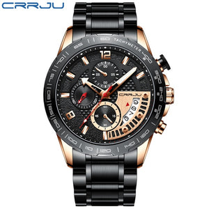 CRRJU 2020 Fashion Stainless Steel Mens Watches Top Brand Luxury Business Luminous Chronograph Quartz Watch Relogio Masculino