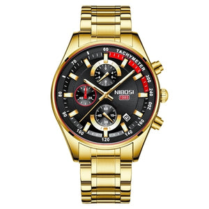 NIBOSI Fashion Mens Watches Top Brand Luxury Wrist Watch Quartz Clock Gold Watch Men Waterproof Chronograph Relogio Masculino